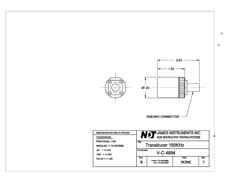 150 Khz Transducer Mechanical Drawing